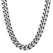 link necklace silver images 8 10 12mm mens chain boys silver stainless steel cut curb cuban JPG