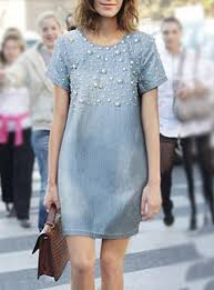 shift denim dress topical embellished pearl embellishments