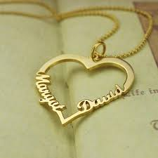 customized pendants gold color customized heart name necklace couples heart pendant