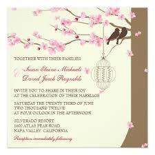 cherry blossom wedding invitations birds vintage cage cherry blossom wedding square paper invitation card