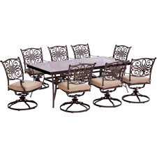 Aluminum Patio Dining Set Hanover Traditions 9 Piece Aluminum Outdoor Dining Set With