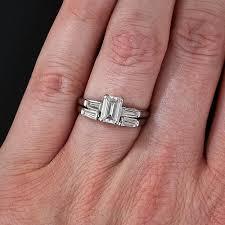 emerald cut wedding set 95 carat emerald cut diamond estate wedding set