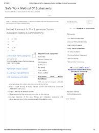 method statement for fire suppression system installation testing