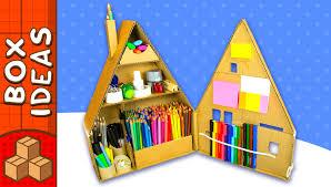 diy desk organiser cardboard house craft ideas for kids on