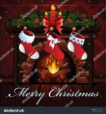 christmas fireplace vector illustration stock vector 118613758