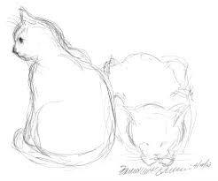 pencil sketch of two cats archives the creative cat