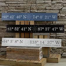 personalized wood sign latitude longitude