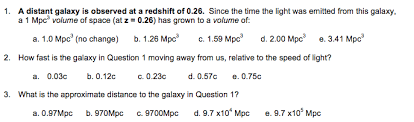 a distant galaxy is observed at a redshift of 0 26 chegg