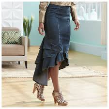 denim skirts flounced denim skirt ebay