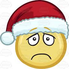 a lonely and depressed emoji wearing a santa hat cartoon clipart