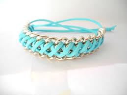 braided bracelet with chain images Braided bracelet silver chain bracelet turquoise suede and silver jpg