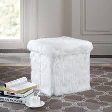 Faux Fur Ottoman Mainstays Faux Fur Collapsible Storage Ottoman Walmart