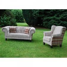 Tartan Armchairs Nathan Armchiar Fabric Wingback Chair