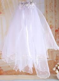 communion veils tulle satin with imitation pearls flower girl communion veils