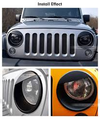 jeep accessories lights front light panel angry birds style abs headlight bezels trim