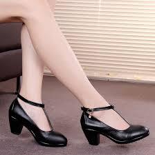Black Comfort Shoes Women Comfortable Womens Heels Qu Heel