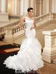 charming jewel beading tiered mermaid wedding dress 11096093