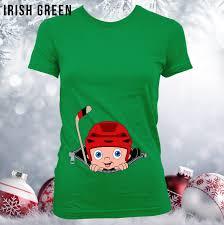 hockey baby peeking out christmas pregnancy announcement shirt