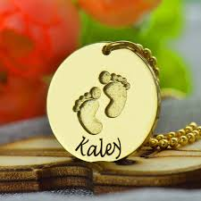 baby name necklace baby name necklace with footprints personalizedperfectly