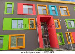 contemporary style architecture multicolored windows school contemporary style architecture stock