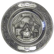 birth plates personalized engraved pewter pewtarex