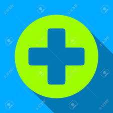 Blue And Yellow Cross Flag Medical Rounded Cross Long Shadow Vector Icon Style Is A Flat