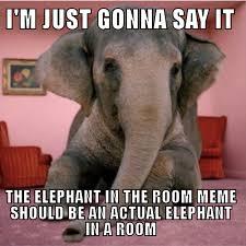 Elephant Meme - the elephant in the room meme is a good idea but we can improve