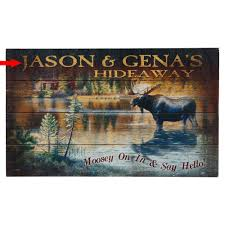 hideaway moose personalized wood sign