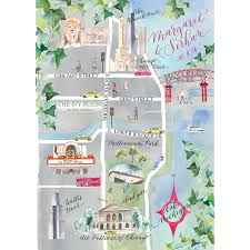 Chicago Map Poster by Wedding Map Of Chicago Watercolor Illustration By Lemontree