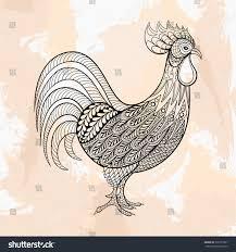 zentangle vector rooster chicken design stock vector
