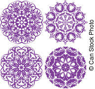 vector clipart of set of one color circle lace border ornaments