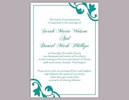 teal wedding invitations diy wedding invitation template editable word file instant