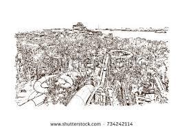 watercolor splash sketch water park dubai stock vector 734600062