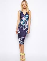asos pastel floral deep plunge dress in blue lyst