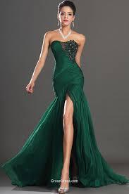 dark green strapless beaded embroidered slit long prom dress