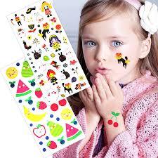 2pcs temporary tattoo lovely girls cat fruit apple flower colorful
