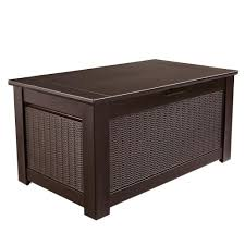 rubbermaid gal bridgeport resin storage bench deck box images on