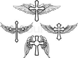 set of the vector cross and wings design elements stock