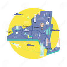 Brooklyn Ny Map Vector Map Of New York In Retro Style With Landmarks The Statue