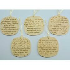 wooden nativity ornaments with bible verse loving wood