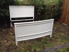 beautiful antique shabby chic double bed painted in old white with