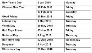 public holidays 4 long weekends for s u0027pore in first half of 2018