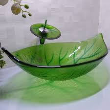 green leaf shape cloakroom tempered glass above counter wash basin