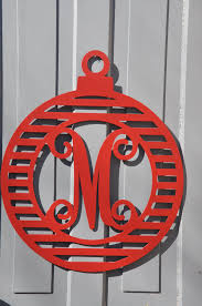 ornament door hanger with monogram protek designs