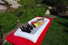 large white inflatable serving bar buffet cooler with drain plug