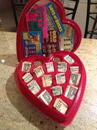 what is a valentines day gift for my boyfriend chocolate heart box with and lottery tickets