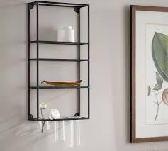 wall shelf unit with multi glass rack pottery barn