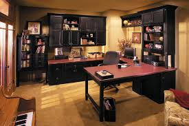 office masculine bedroom design with wooden floor combine with