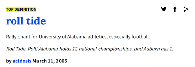 Meme Dictionary Definition - urban dictionary definition roll tide know your meme