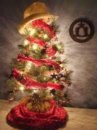 cowboy christmas tree use gold stars red bandana material and a